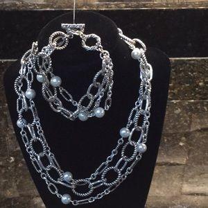 Premier Designs silver necklace and bracelet NWOT